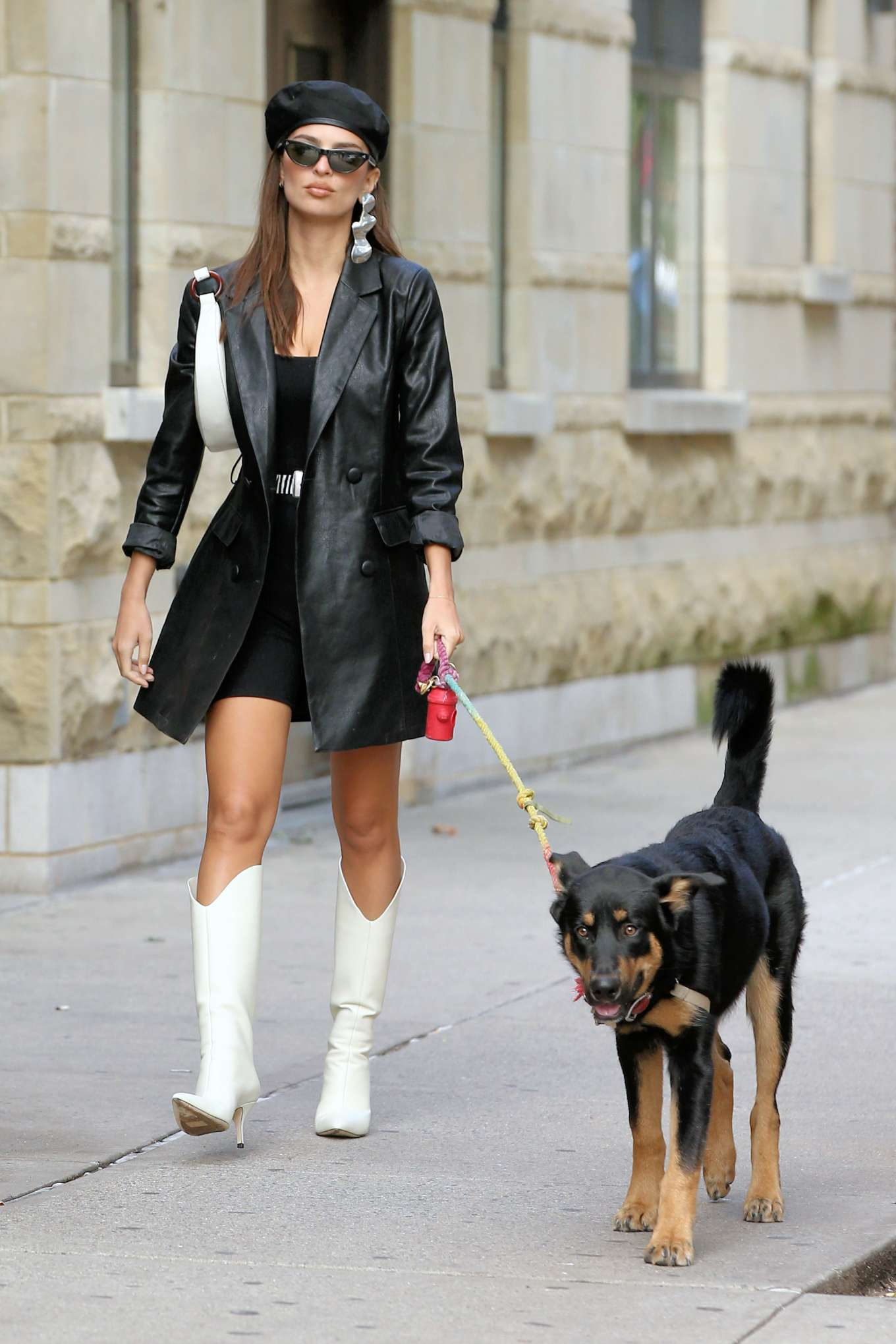 Emily Ratajkowski 2019 Pics in White Boots and Black Leather Coat – Walking her dog Colombo in New York 01