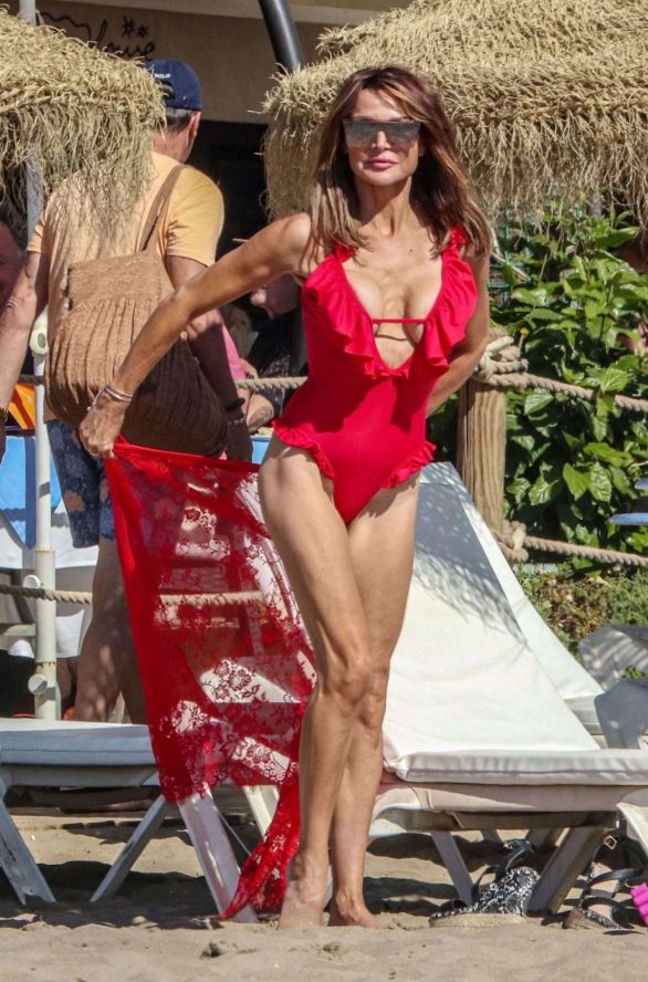 Lizzie Cundy 2019 Pics in Red Swimsuit on the beach in Marbella 05