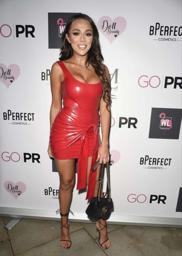 Arianna Ajtar Photos in Red Latex Dress at Mars The Label Pre Christmas Party in Manchester
