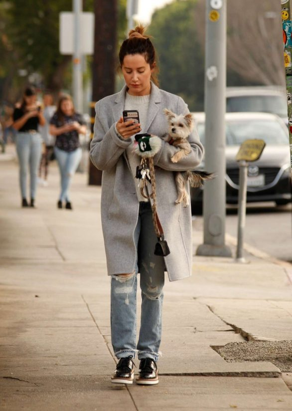 Ashley Tisdale in a grey downcoat in Los Angeles 1