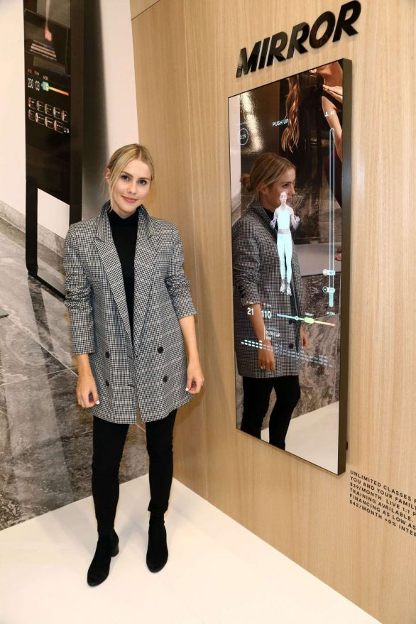 Claire Holt and Erin Foster attend MIRROR Westfield Century City grand opening event at Westfield Century City, California