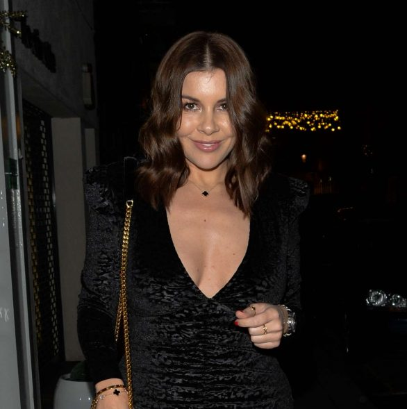 Imogen Thomas puts on a racy display in a plunging minidress as she celebrates her birthday with a night out in London