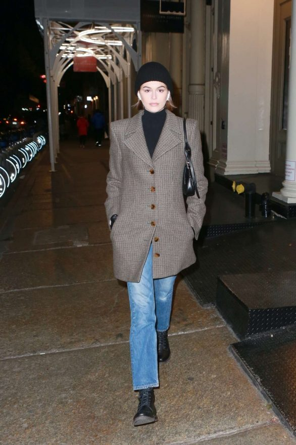 Kaia Gerber braves the cold weather while out for a stroll in New York City