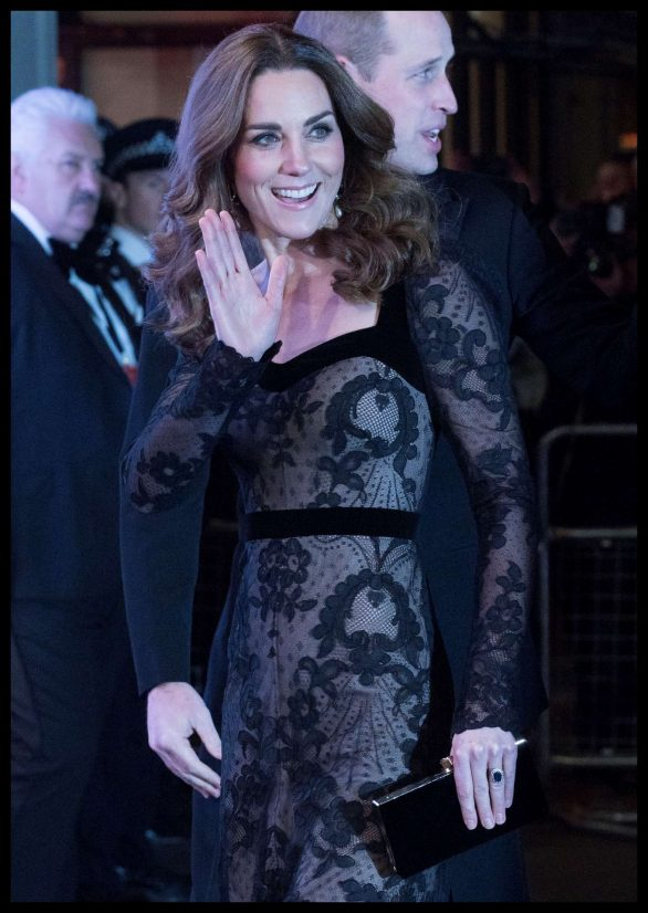 Kate Middleton stuns in black lace dress as she steps out with Prince William for the Royal Variety Performance