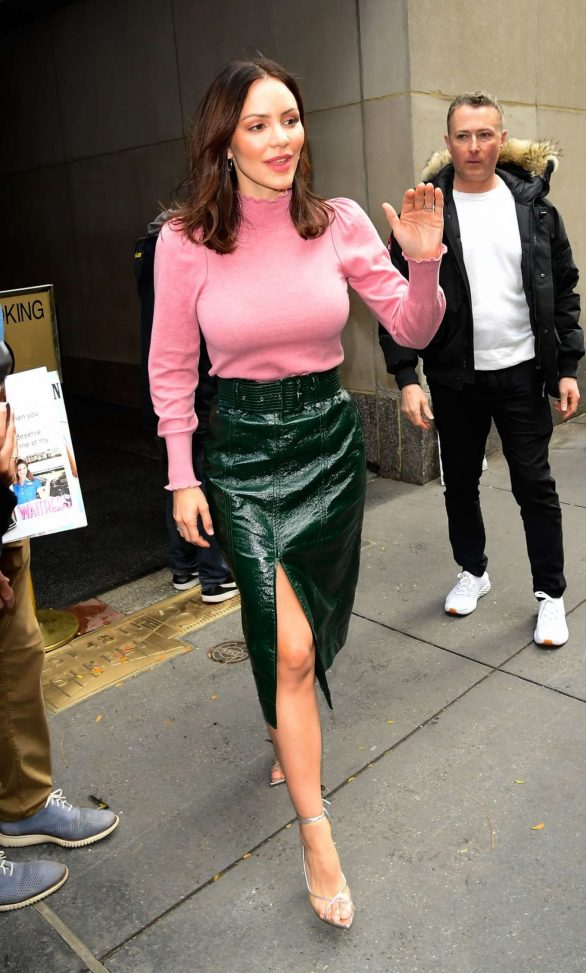 Katharine McPhee rocks green leather skirt after husband David Foster talks 'passing on' Celine Dion's My Heart Will Go On during their Today Show interview: 'I couldn't have made a bigger mistake'