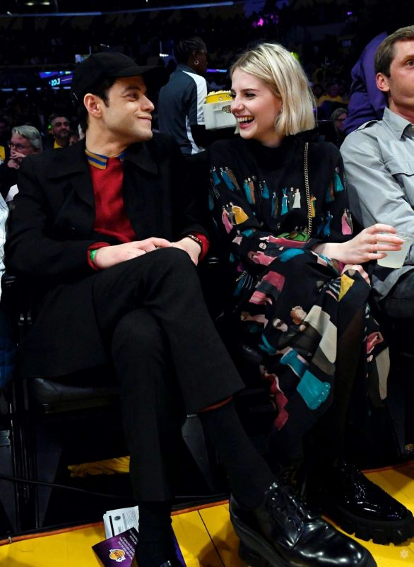 Lucy Boynton and Rami Malek Pics at Washington Wizards and Los Angeles Lakers basketball game in LA