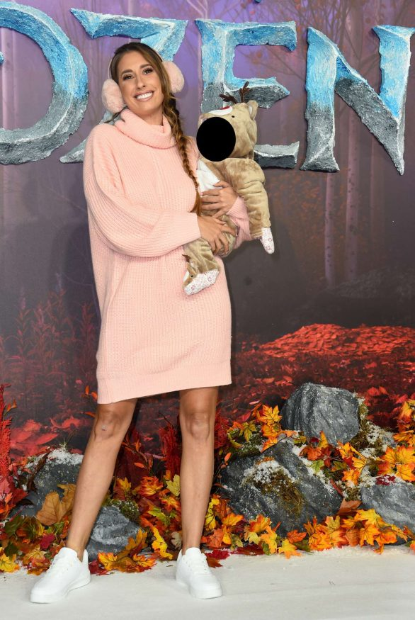 Stacey Solomon attends the Frozen 2 premiere with her baby son Rex clad in cute reindeer costume
