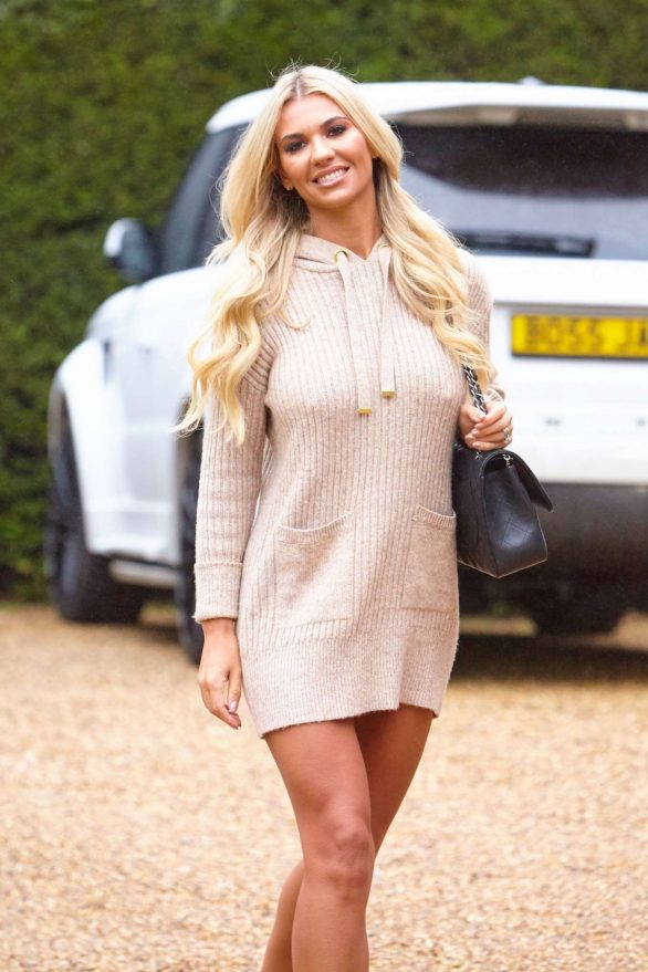 Christine McGuinness in Mini Dress While Leaves a photoshoot in Essex