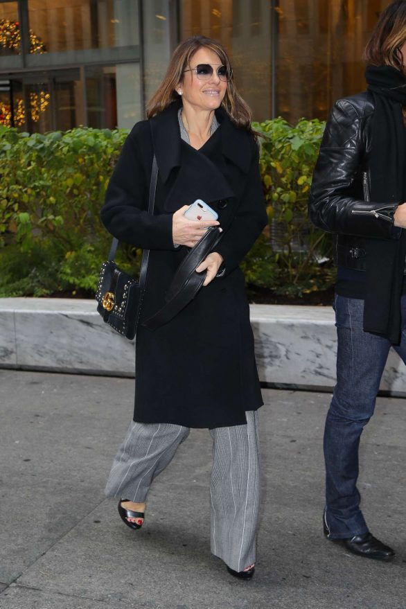 Elizabeth Hurley leaves the Sirius XM Studios on March 11, 2015 in New York City