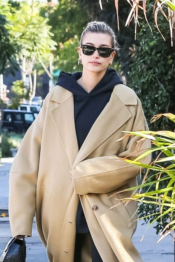 hailey bieber stops by a coffee shop after her daily workout routine in beverly hills, los angeles