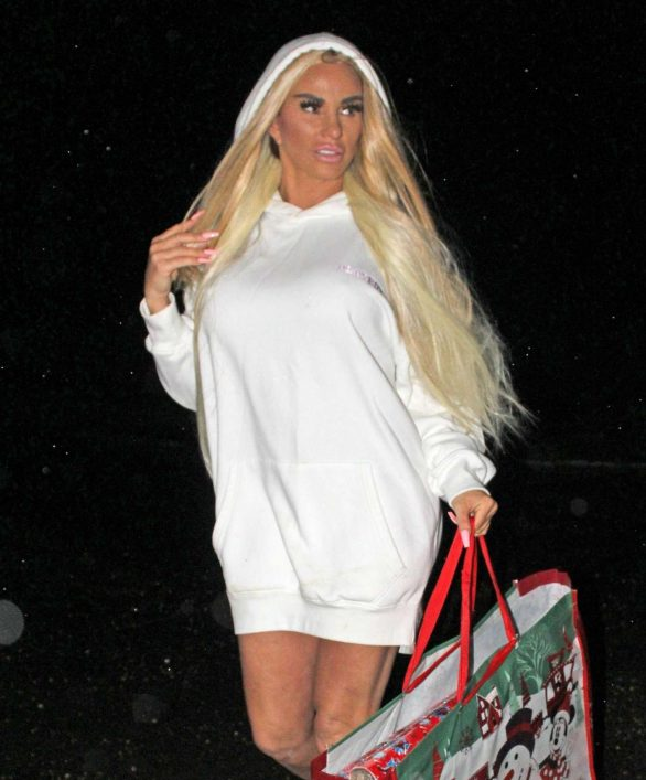 Katie Price goes last-minute shopping wearing just a Playboy hoodie and slippers ahead of her first Christmas since being declared bankrupt