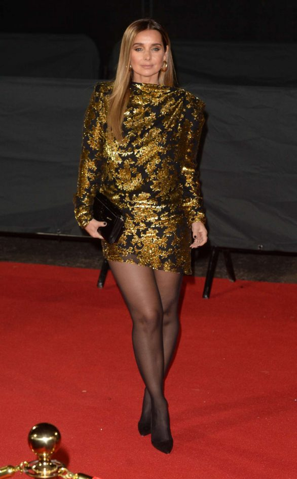 British Fashion Awards 2019: Louise Redknapp channels 80s chic in a black and gold mini dress with shoulder pad sleeves