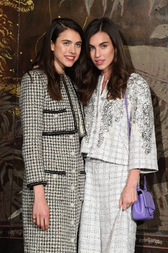 margaret qualley and rainey qualley attend the photocall of the chanel metiers d'art 2019-2020 show in paris, france