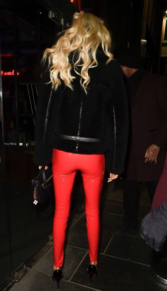 olivia attwood looks great a white crop top and bright red pvc tights during a night out at blvd in manchester, uk