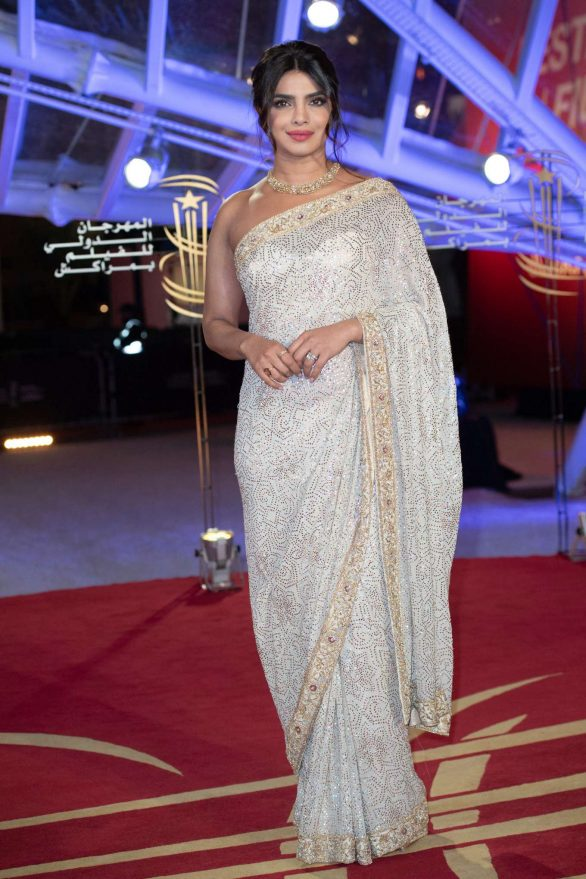Priyanka Chopra in Saree at Tribute to Australian Cinema at the 18th Marrakech Film Festival