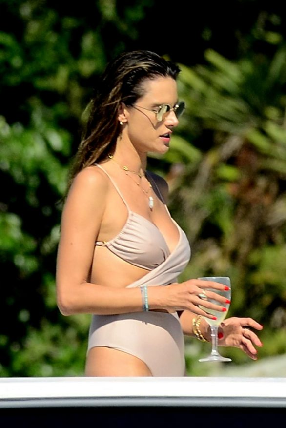Alessandra Ambrosio Pics in Swimsuit on a boat in Florianopolis