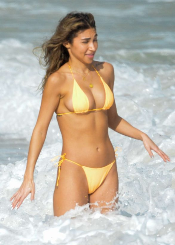 Chantel Jeffries Pics in Yellow Bikini on the beach in Tulum