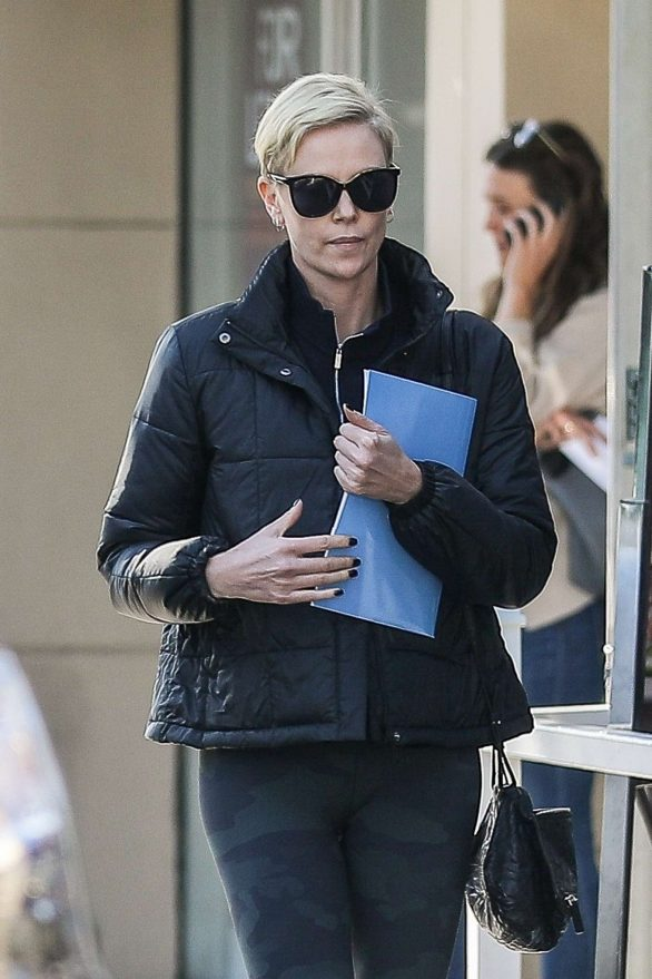 charlize theron wears a jacket and leggings as she heads to another meditation class in beverly hills, california