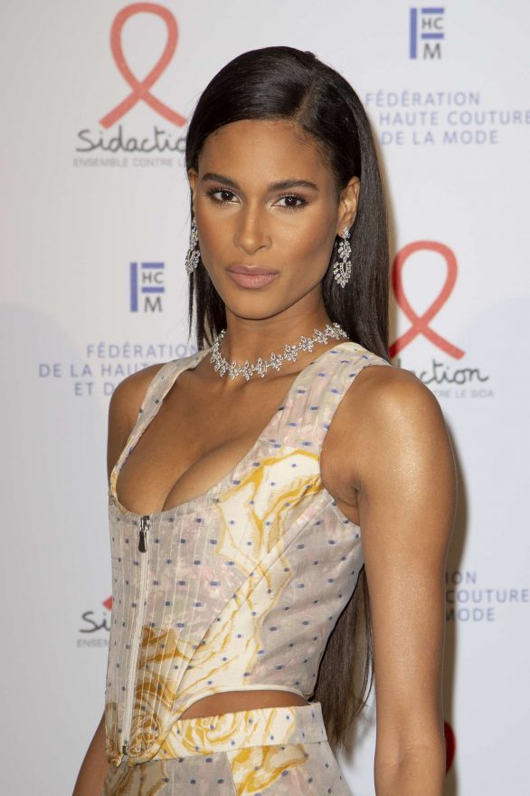 Cindy Bruna attends Sidaction Gala Dinner 2020 At Pavillon Cambon on January 23, 2020 in Paris, France