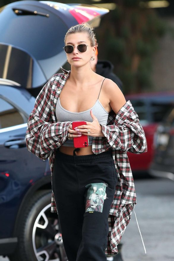 Hailey Bieber goes bra-less for a dance class at husband Justin's go-to studio in Los Angeles