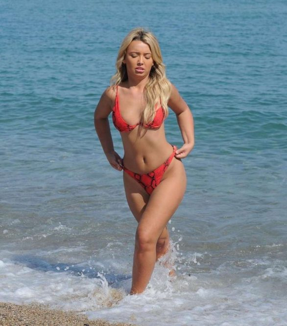 Harley Brash Pics in Red Bikini on the beach in Lazarote