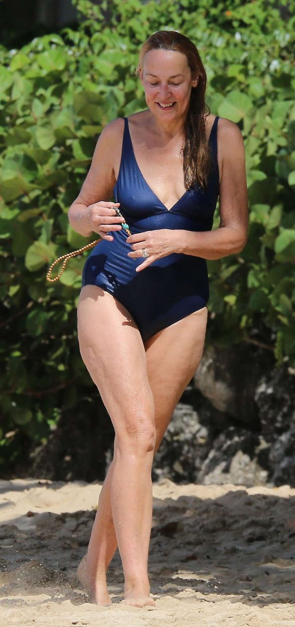 Jerry Hall Pics in Blue Swimsuit on holiday in Barbados