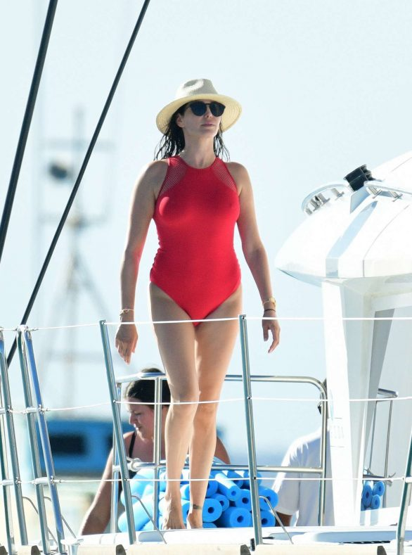 Lauren Silverman Pics in Red Swimsuit on a catamaran in Barbados