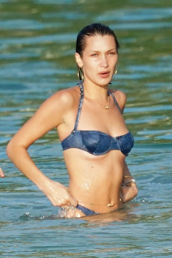 Bella Hadid Spotted on the beach in St. Barts