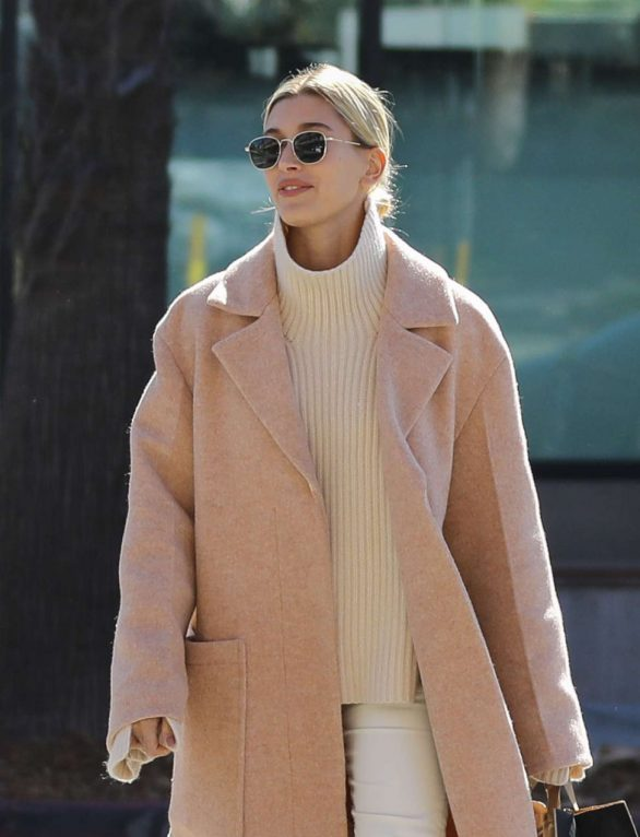 Hailey Bieber Pics in Long Coat Out in Los Angeles