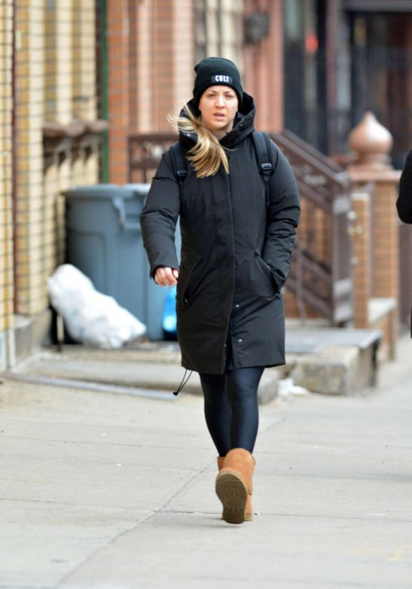 Kaley Cuoco is makeup-free as she keeps warm in Ugg boots during a stroll around chilly New York City