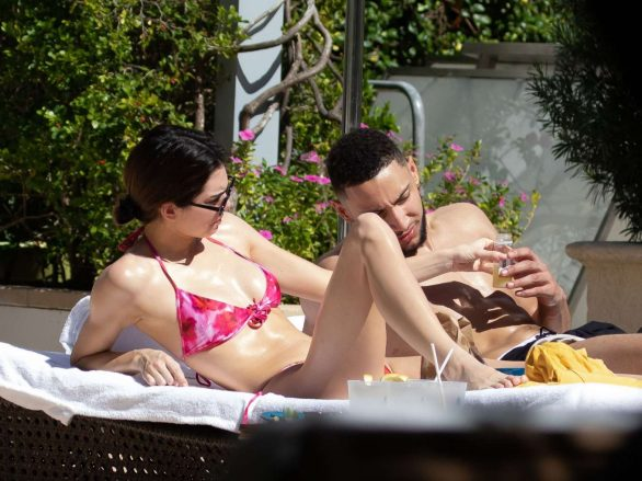 Kendall Jenner in Poolside bikini candids with her BF in Miami