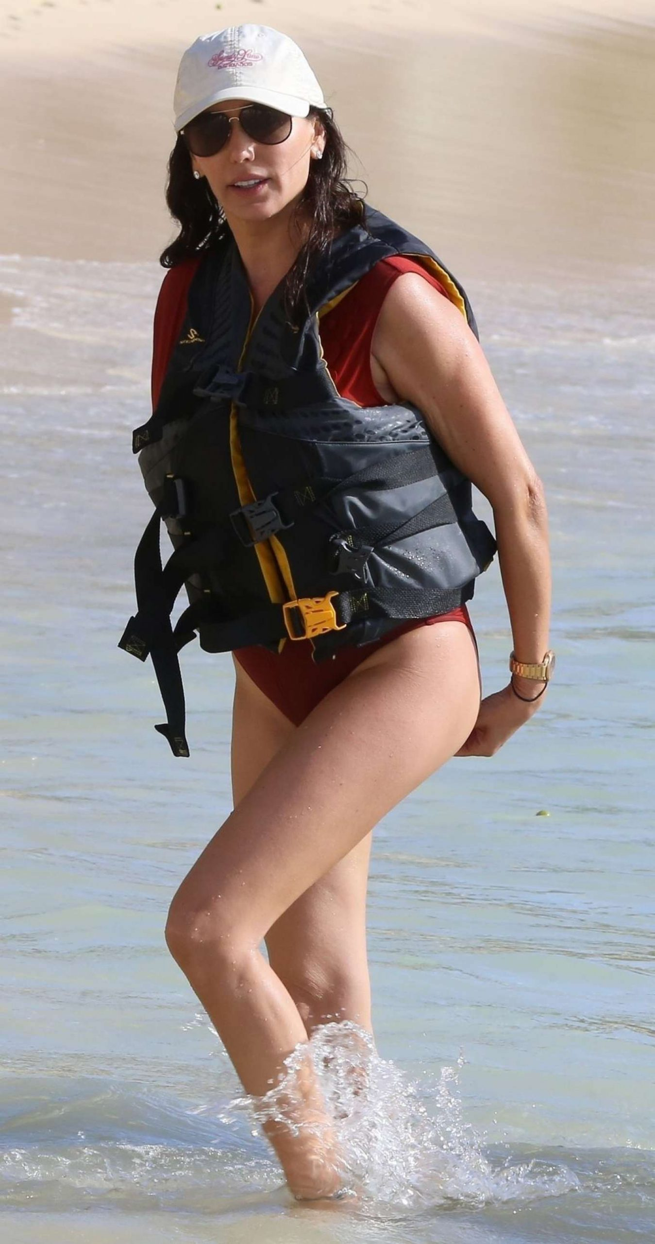 Lauren Silverman Pics in Red Swimsuit on the Caribbean Sea