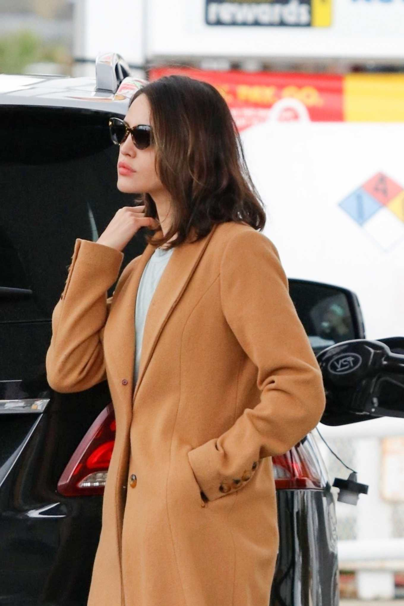 Eiza Gonzalez Wearing a coat while out in LA