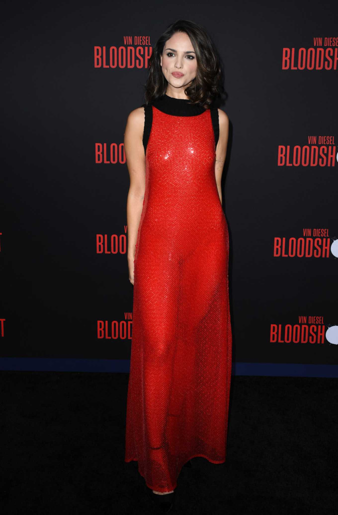 Eiza Gonzalez in a Long red dress at 'Bloodshot' Los Angeles premiere