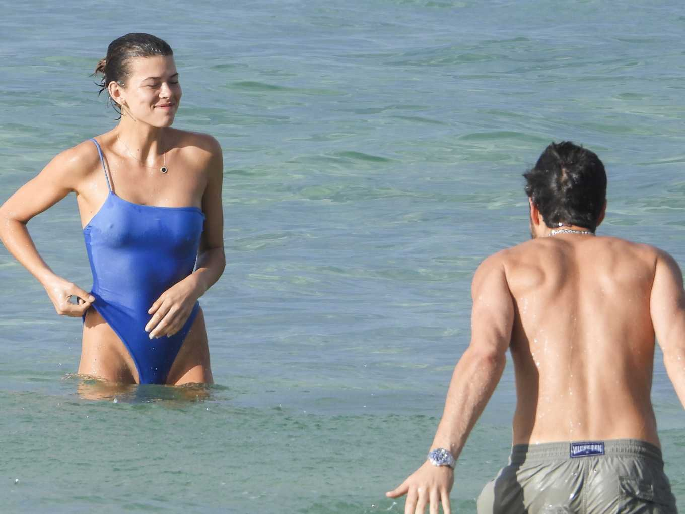 Georgia Fowler in Blue Swimsuit on the Beach in Sydney