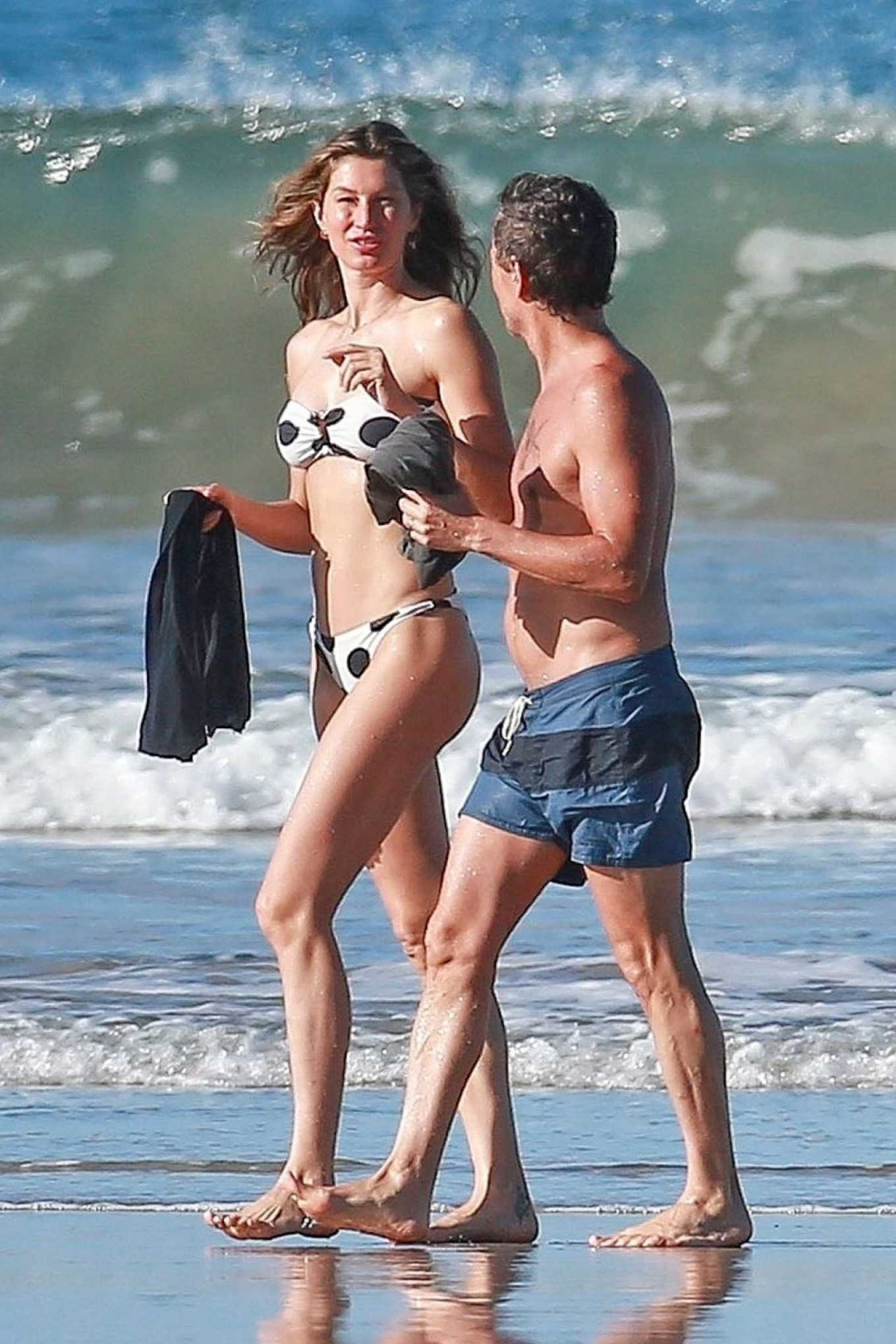 Gisele Bündchen in White and Black Bikini on Vacationing in Costa Rica