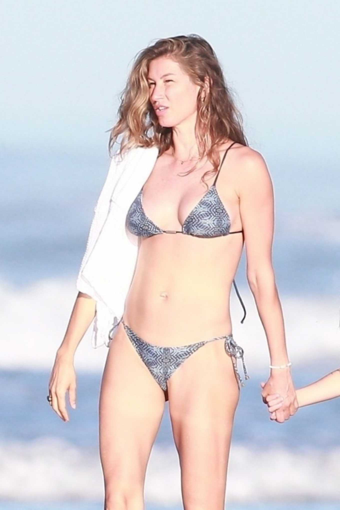 Gisele Bundchen in Patterned Grey Bikini in Costa Rica