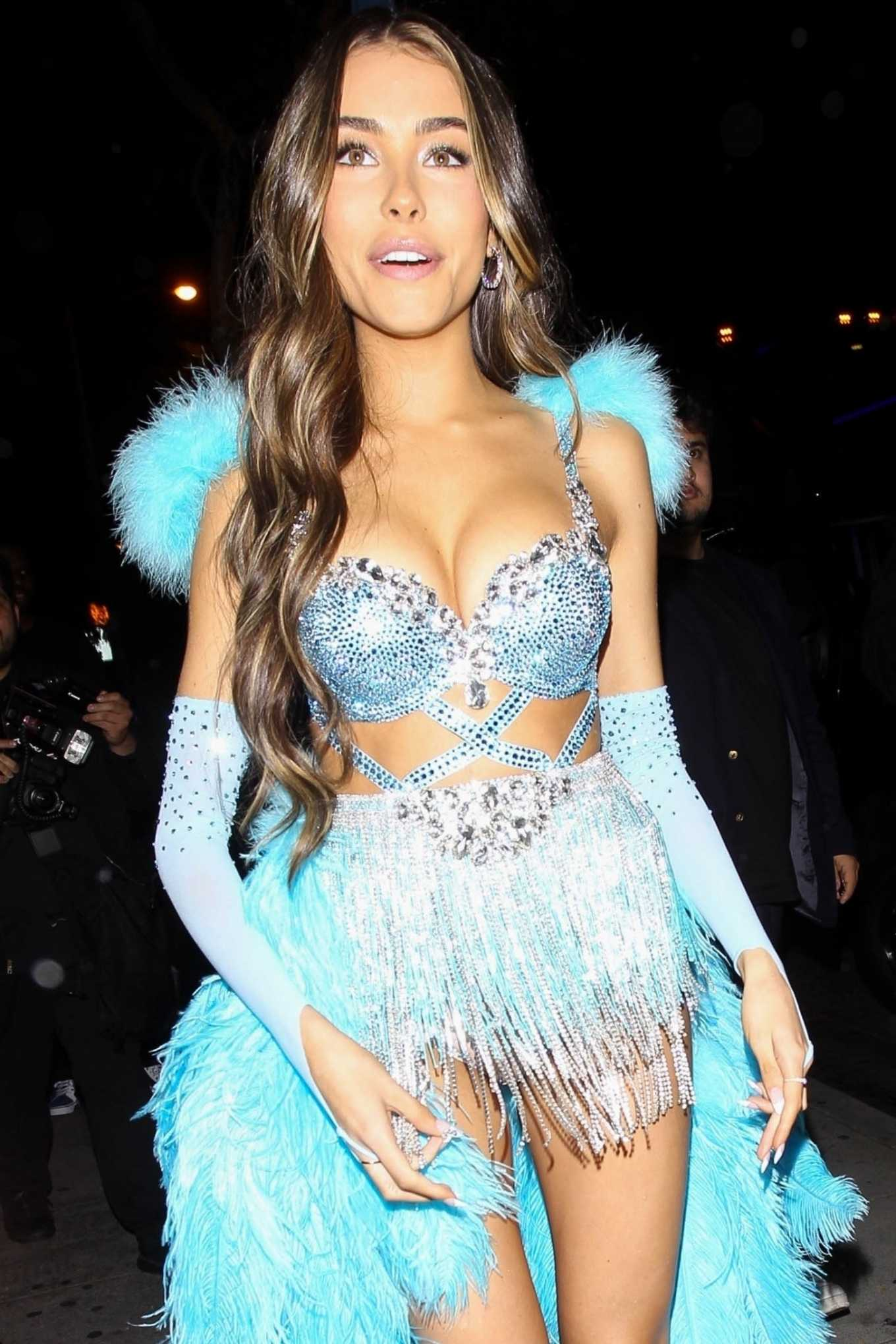 Madison Beer In a blue feather ensemble at her 21st birthday party at Delilah in Hollywood