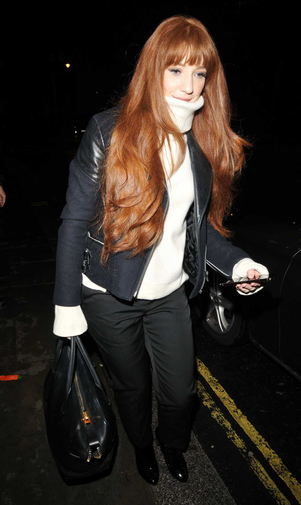 Nicola Roberts leaving the Garrick Theatre