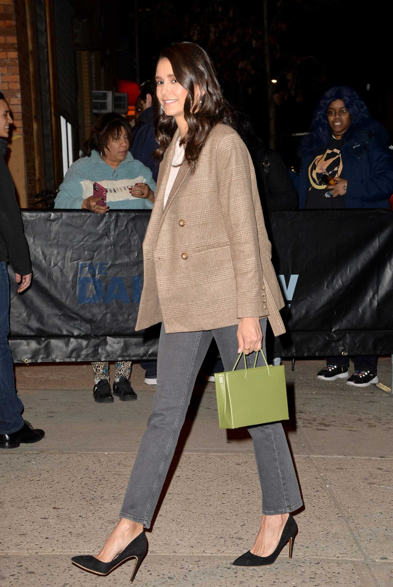Nina Dobrev Pics While Arrives at The Daily Show with Tevor Noah in New York City