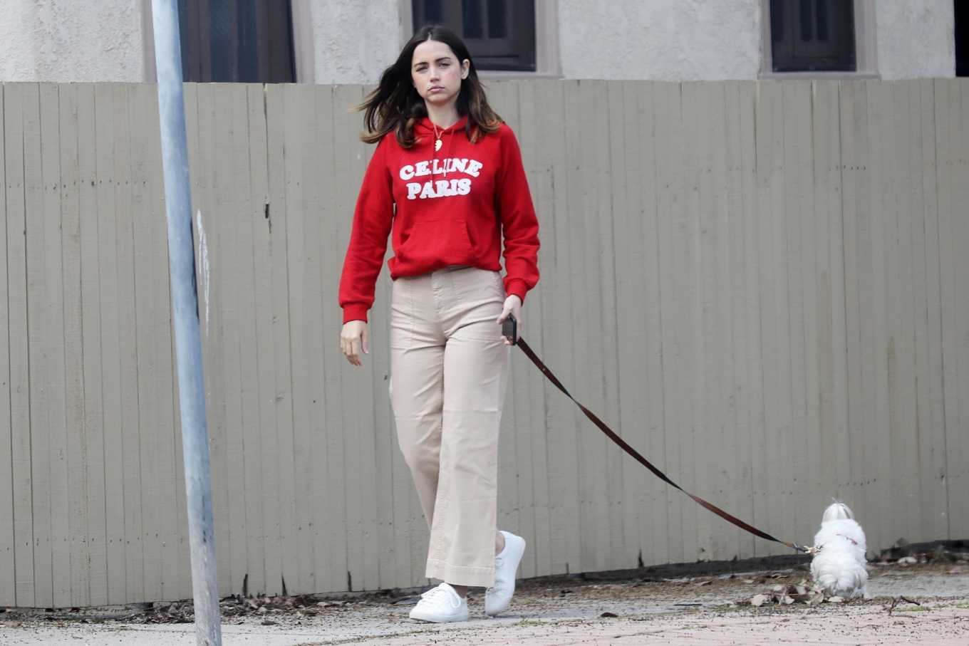 Ana de Armas Out for a stroll with her dog in the Palisades