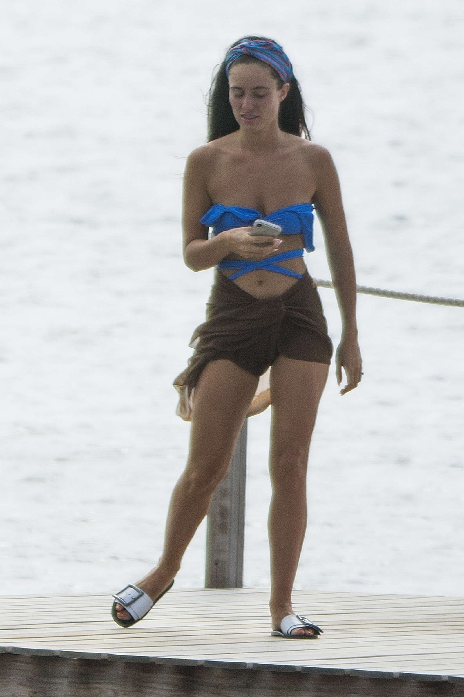 Fern Hawkins in Blue Bikini at Nikki Beach in Barbados-13