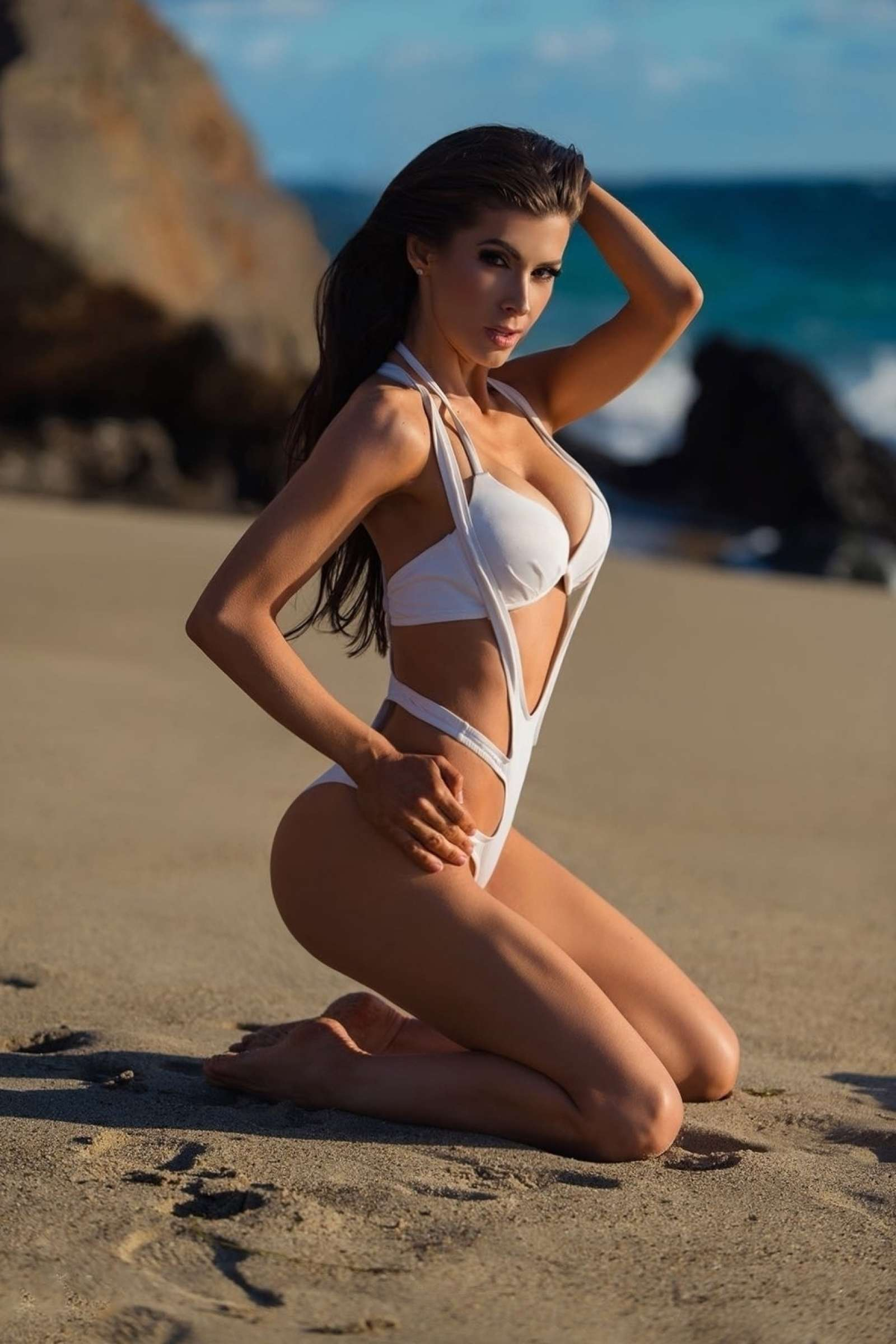 Ildiko Ferenczi in White Swimsuit on the beach in Costa Mesa-02