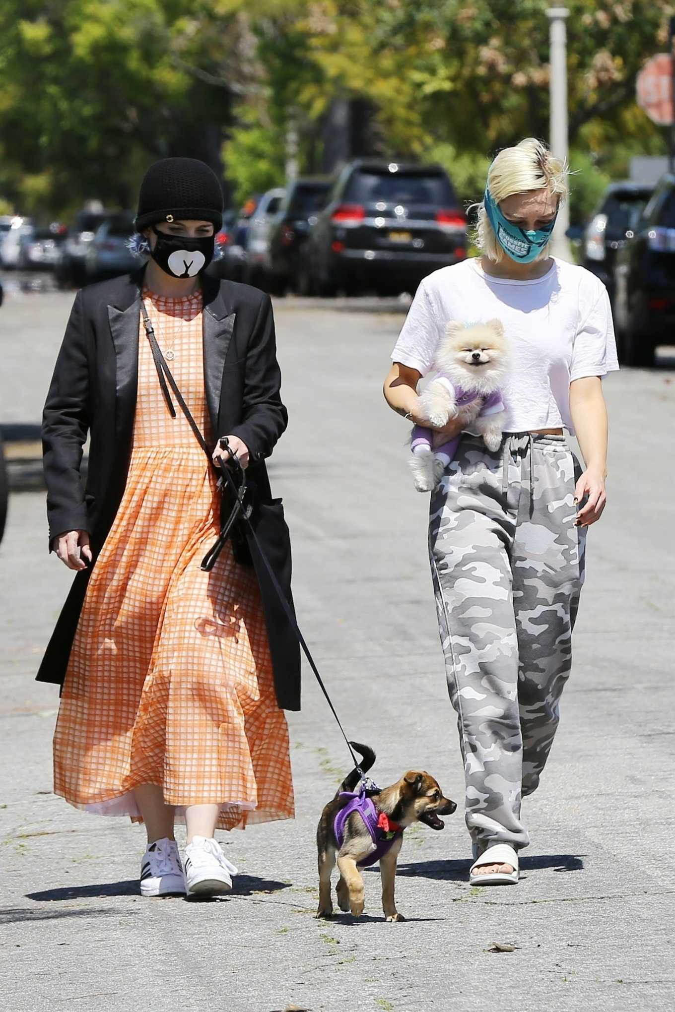 Kelly Osbourne with brother Jack Osbourne and Aree Gearhart Out for a walk